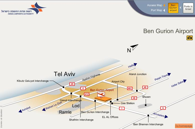 Схема аэропорта Ben Gurion