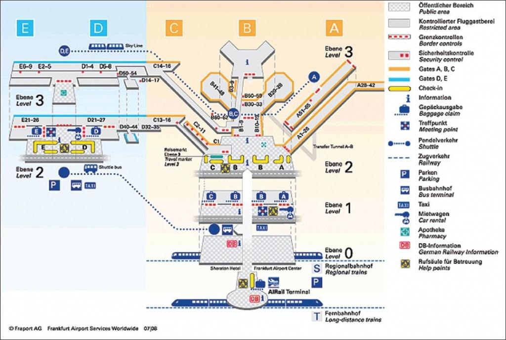Схема всего аэропорта франкфурта-на-майне (flughafen frankfurt am.