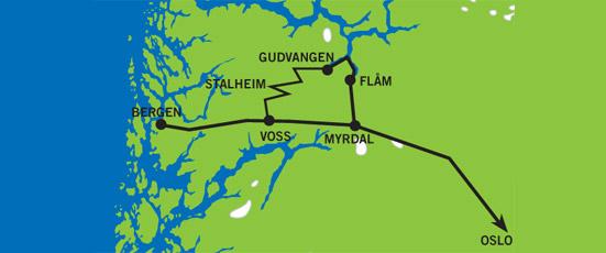 Дорога из флом в гудванген на карте